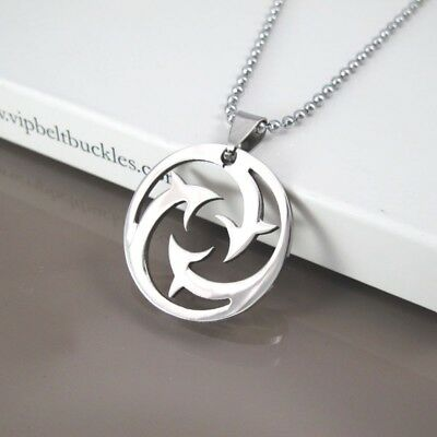 Silver Round Stainless Steel Dolphin Charm Pendant Womens Chain Surfer Necklace