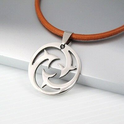 Silver Round Stainless Steel Dolphin Charm Pendant Brown Leather Surfer Necklace