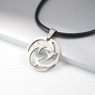 Silver Round Stainless Steel Dolphin Charm Pendant Black Leather Surfer Necklace