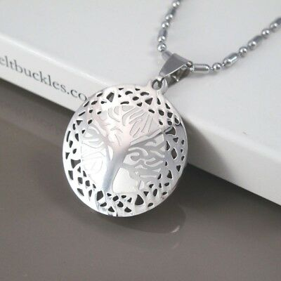 """Silver Stainless Steel Round Tree Of Life Pendant 24"""" 61CM Chain Tribal Necklace"""