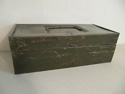 Vintage Letter Index Metal Box Army Green w/Handle and Latch