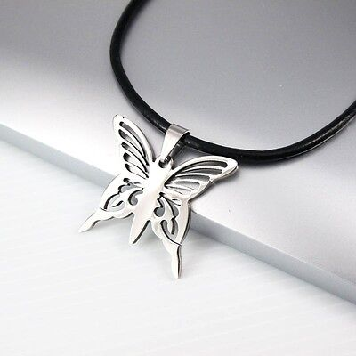 """Silver Stainless Steel Butterfly Charm Pendant 18"""" 45CM Black Leather Necklace"""