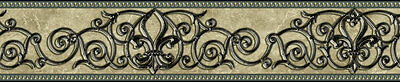 Fleur de Lis Scroll Black Wrought Iron Peel and Stick Wallpaper Border QA4W0564