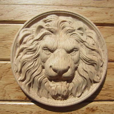 Carved Wooden Lion's Head Unpainted