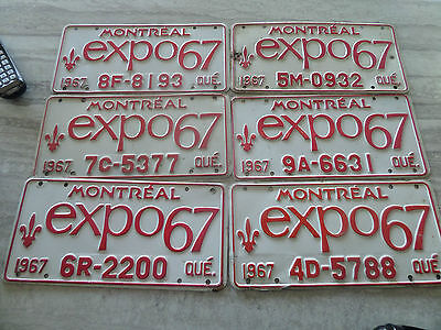 quebec license plate expo 67 lot of 6