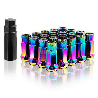 M12X1.25MM 20PCS NEON CHROME OPEN END EXTENDED TUNER WHEEL LUG NUTS New