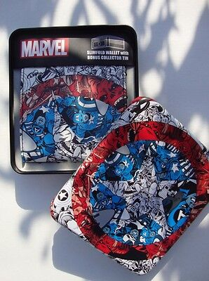 Marvel Comics  Captain America Slimfold Wallet  W/ Collector Tin Case Box Red