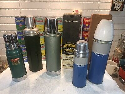 (5) Vintage Thermos Bottles incl. UNUSED NIB 1 Quart Aladdin's Stanley A944B