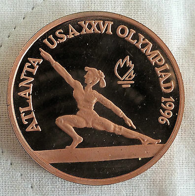 ROMANIA 1996 OLYMPIC GAMES PIEDFORT COPPER PROOF PATTERN 100 LEI - gymnast