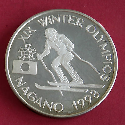 ROMANIA 1998 NAKANO OLYMPIC GAMES SILVER PROOF PATTERN 100 LEI - skater