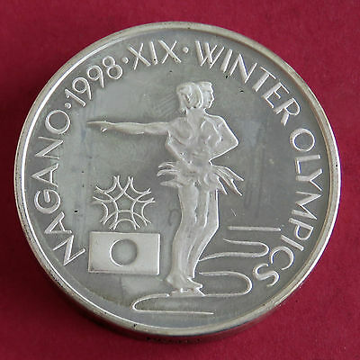 ROMANIA 1998 OLYMPIC GAMES PIEDFORT SILVER PROOF PATTERN 100 LEI -figure skaters