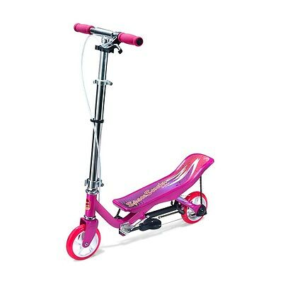 Junior Space Pink Scooter Kids Foldable Adjustable Handlebars Outdoor Fun Age 4+