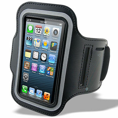 """iPhone 6 (4.7"""") Black Padded Arm Band Mobile Phone Holder for Running, Jogging"""