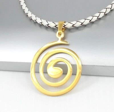 Gold Stainless Steel Round Spiral Pendant Brown Leather Surfer Tribal Necklace