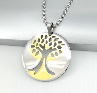 """Silver Gold Tree Of Life Celtic Pendant 23""""  24"""" 61CM Mens Ball Chain Necklace"""