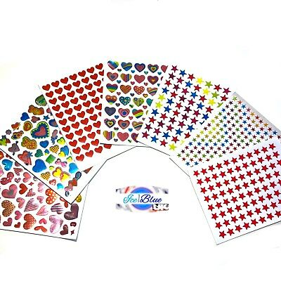 Star Smiley & Heart Stickers 2 SHEETS reward cardmaking etc BUY 2+ FOR 20% OFF