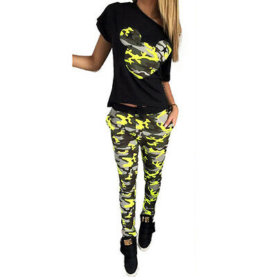 Fashion Cool 1 Set Women Camouflage Mickey Mouse Tops Shirt+long Pants Outfits