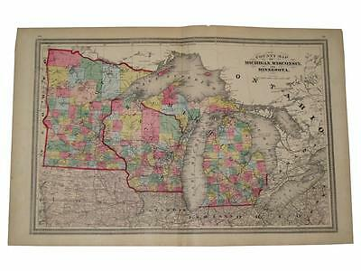 Map of Michigan Wisconsin Minnesota 1872 H.H. Lloyd Guernsey Hand Color