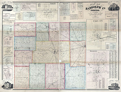 1865 Farm Line Map of Randolph County Indiana Winchester