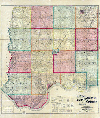 1893 Map of Ben Homme County South Dakota