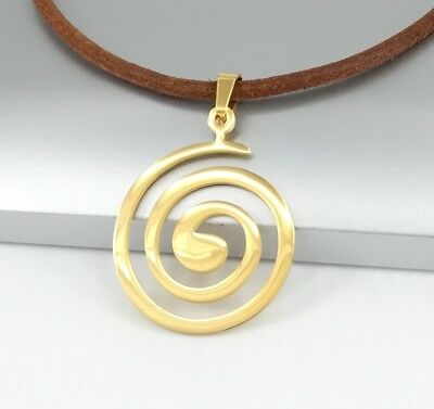 Gold Stainless Steel Round Swirls Spiral Pendant Black Leather Tribal Necklace