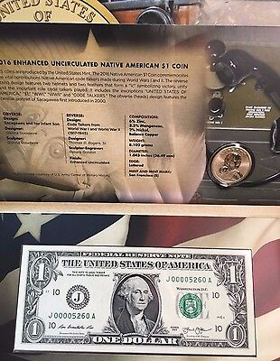 2016 Coin & Currency Set Code Talkers Enhanced Sacagawea w/ Kansas City FRN