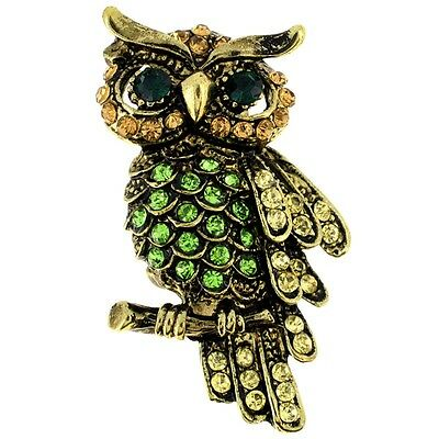 Vintage style Multicolor Owl Bird Pin Brooch. Shipping is Free