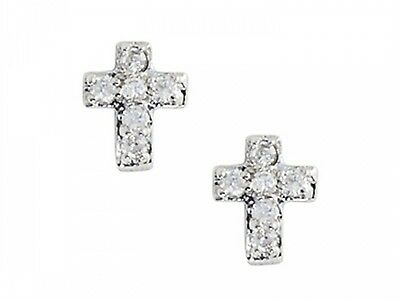 Sterling Silver Childrens Cross Earrings with White CZ's. Brand New
