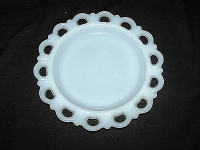 Anchor Hocking Old Colony Lace Edge Milk Glass Plate & Lg & Sm Pedestal Bowls