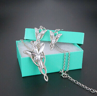 New Lord of the Rings Arwen Evenstar Sliver Necklace Earring Set with Gift Box
