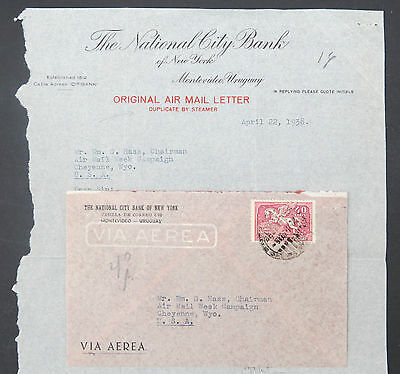 Uruguay National Bank of New York Airmail Cover Chairman Hass Lupo Brief (I-1224