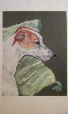 Print of pastel Whippet relaxing on pillow greyhound sighthound coursing racing