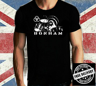 MENS John Bonham BLACK T SHIRT  Drums BONZO  LED ZEPPELIN Blues  S M L XL XXL