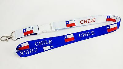 Chile Flag Blue/white Reversible Lanyard/keychain, New,fast Free Shipping
