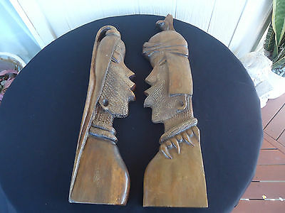 2 vintage retro wooden african asian carved wall head figurines man lady pair