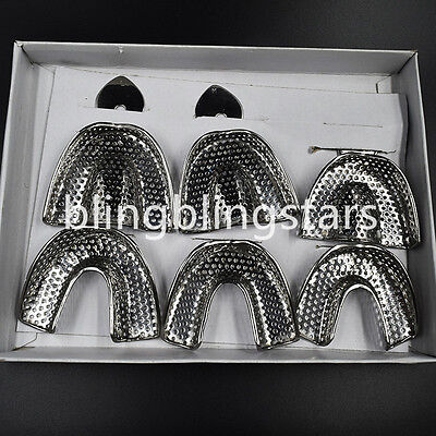 6pcs/Box upper lower Dental Autoclavable metal Impression Trays STAINLESS STEEL
