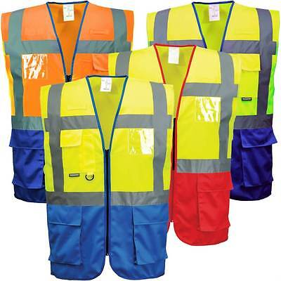 Portwest C476 HI VIS Warsaw Executive Vest Safety Jacket Radio Loop ID Pocket