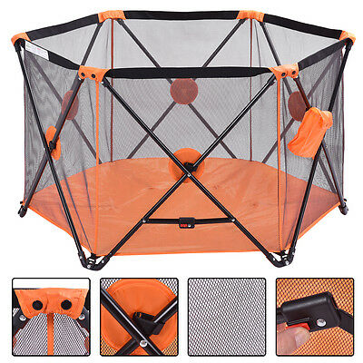Orange Baby Playpen Playard Portable Folding Outdoor Indoor Safety Free Standing