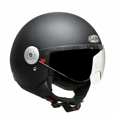 Open Face Matt Black Helmet Superskin Technology As1698 New With Visor