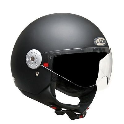 Matt Black Helmet With Visor Open Face Jet Pilot Style As1698  All Size Superski