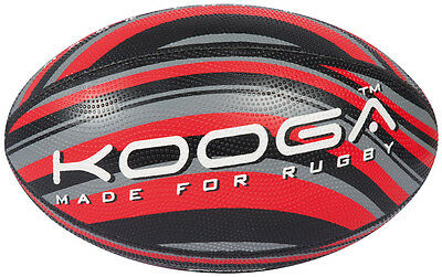 Kooga Wave Rugby Sports Match Playing Four Panels Training Ball Black/Red