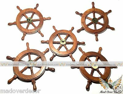 5 x NAUTICAL WOODEN SHIP STEERING WHEEL PIRATE DECOR WOOD BRASS BOAT CAPTAIN