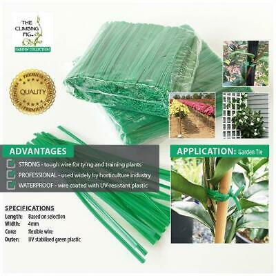 100mm Wire Twist Ties. Green Plastic Coated | Garden Plant Orchid Trellis Bonsai