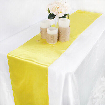 Various Solid Satin Plain Damask Table Runner Tablecloth For Party/Wedding Decor