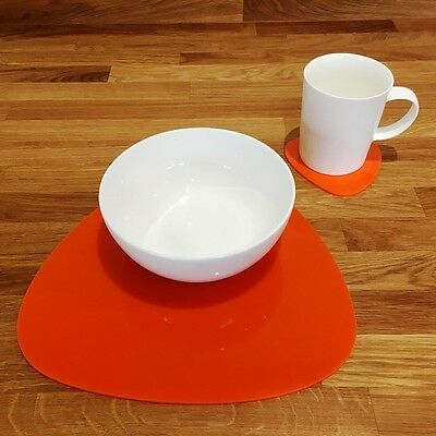 Orange Pebble Shaped Placemat and Coaster Set
