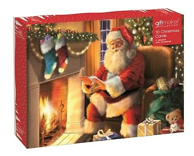 Pack Of 10 Traditional Christmas Cards - Santa Claus, Xmas Toy Shop & Fireplace