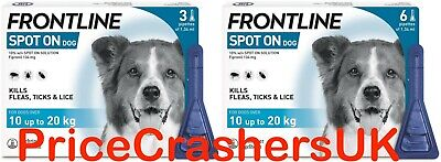 Frontline Spot On for Medium Dogs 10-20kg 1, 3 or 6 Pipettes Flea Lice AVM-GSL