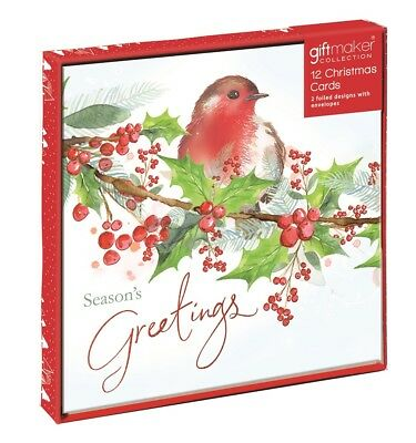Pack Of 12 Scenic Charity Christmas Cards - Winter Robin, Holly & Snowflakes
