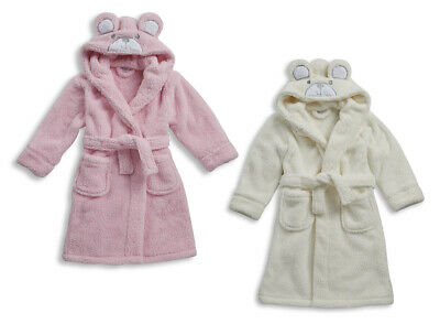 MINIKIDZ Girls Teddy Bear HOODED DRESSING GOWN Robe Soft Fleece Animal Childrens