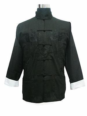 Free Shipping!Chinese Men's Linen Kung Fu Embroider Dragon Jacket Coat M-3XL